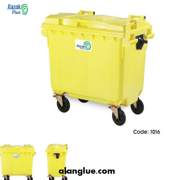 سطل زباله چهار چرخ660لیتری رازک شیمی
